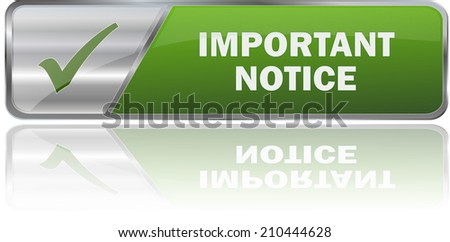 modern green important notice sign - stock vector