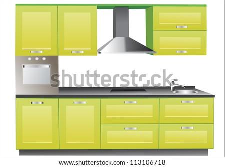 Modern green kitchen interior. - stock vector