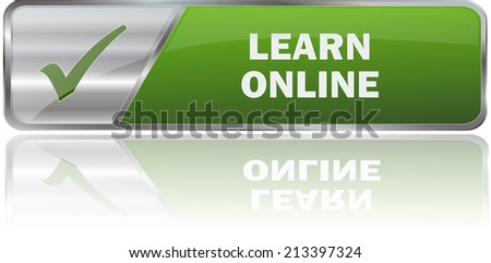 modern green learn online label sign - stock vector