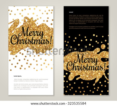 Modern Greeting Card Design with Golden Paint Stains and Polka Dots. Vector Illustration. Gold Brush Stroke. Happy New Year 2016 Poster Invitation Template. Place for your text - stock vector