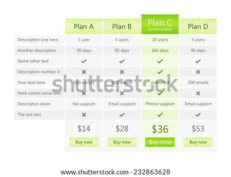 Modern grey pricing table with green recommended plan - stock vector