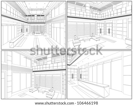 Modern Hall Vector 07 - stock vector
