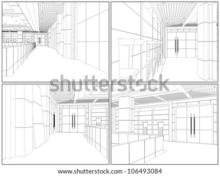 Modern Hall Vector 10 - stock vector