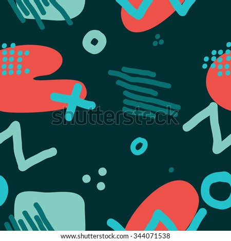 Modern hand draw colorful abstract seamless pattern with geometrical shapes Vector illustration. - stock vector