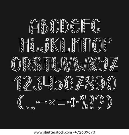 Modern hand drawn font. Isolated alphabet on background. Vector illustration.