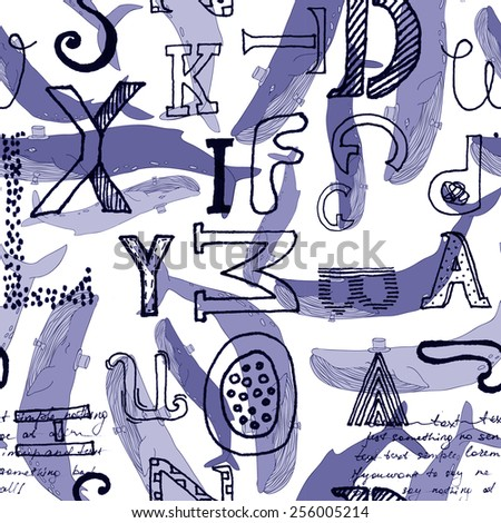 Modern hand drawn seamless pattern with different stylized doodle  letters with blue whales on the white background - stock vector
