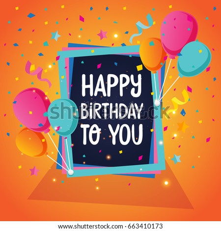 Modern Happy Birthday Card Illustration Birthday Stock Vector