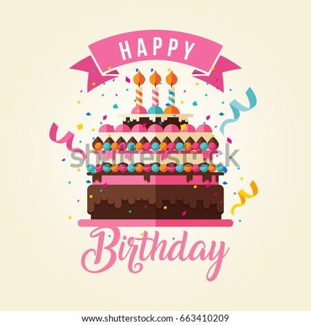 Modern Happy Birthday Card Illustration Delicious Stock Vector