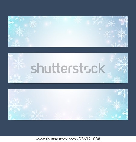 Modern Happy New Year set of vector banners. Christmas background. Design templates with snowflakes. Invitation cards surface.