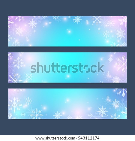 Modern Happy New Year set of vector banners. Christmas background. Design templates with snowflakes. Invitation cards surface