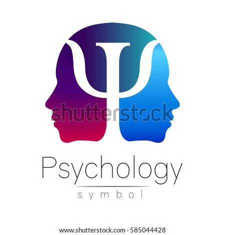 Modern head sign Logo of Psychology. Profile two Human. Letter Psi ...