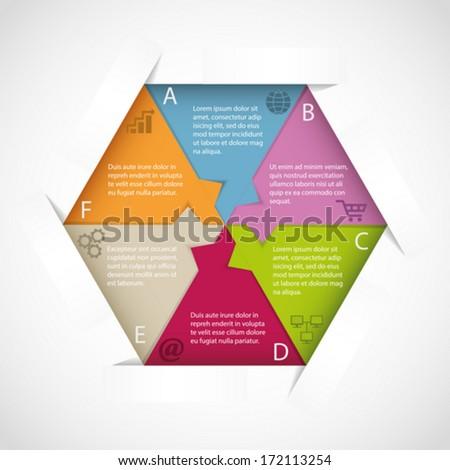 Modern hexagon infographic template - stock vector
