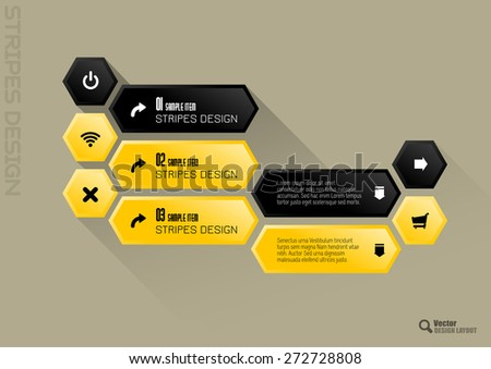 Modern hexagon layout. Black and yellow vector design. - stock vector