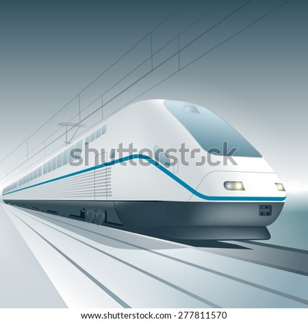 Modern high speed train isolated on background. Vector illustration - stock vector