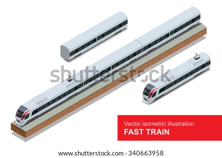 Modern high speed train. Vector isometric illustration of a Fast Train. Vehicles designed to carry large numbers of passengers. Isolated vector of modern high speed train. - stock vector