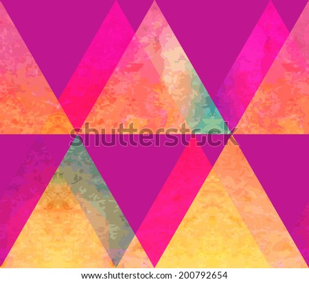 Modern hipster watercolor triangles seamless pattern. Colorful texture in hipster style. Grunge geometry template pattern. - stock vector