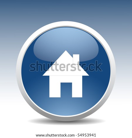 Modern home button - stock vector