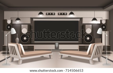 Modern Home Cinema Interior 3d Design With Screen And Acoustic Equipment,  Couches On Light Background
