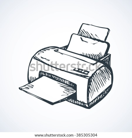 Modern home digital quality multifunction pc color toner plotter isolated on white background. Freehand outline black pen drawn picture icon sketchy in scribble style. Closeup view with space for text - stock vector