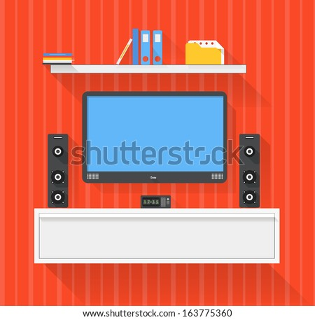 Modern home media entertainment system illustration - stock vector