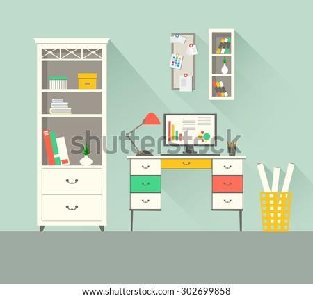 Modern home office interior. Flat design illustration. For infographic, web site, cartoon, poster, presentation. EPS 10 vector file. - stock vector