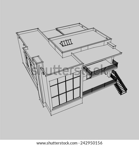 Modern House Building Architectural Sketch