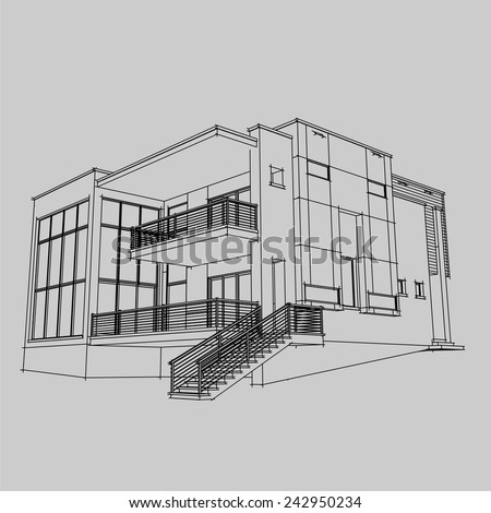 Modern House Building Architectural Sketch Stock Vector