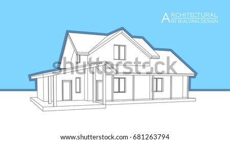 modern house building vector architectural drawings 3d illustration - Architectural Drawings Of Modern Houses