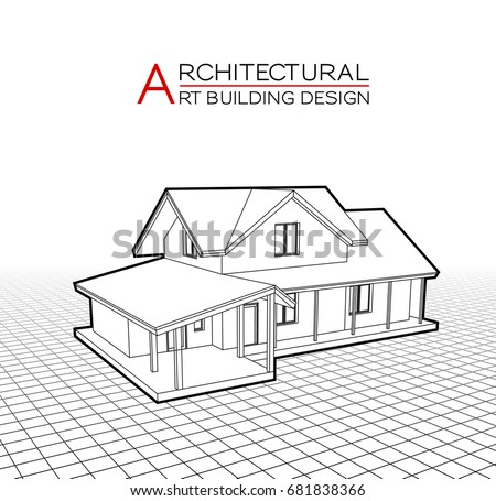 modern house building vector architectural drawings 3d illustration - House Drawing 3d