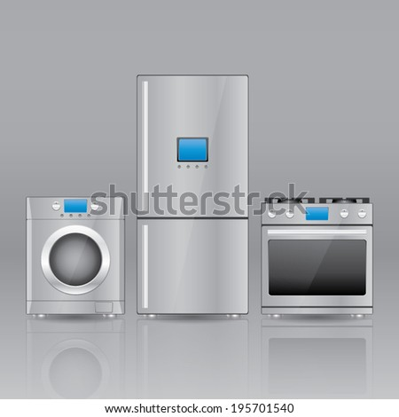 modern household appliances vector eps10 - Modern Home Appliances