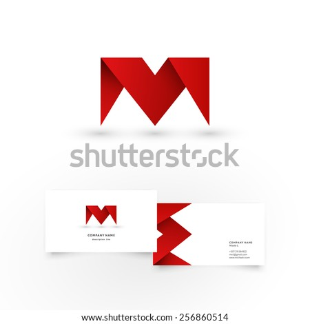 Modern icon design M letter shape element with business card template. Best for identity and logotypes. - stock vector