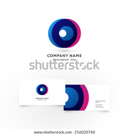 Modern icon design O letter shape element with business card template. Best for identity and logotypes. - stock vector