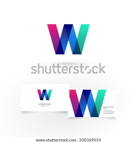 Modern icon design W letter shape element with business card template. Best for identity and logotypes. - stock vector