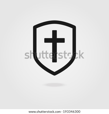Modern icon shields with Christian cross. - stock vector