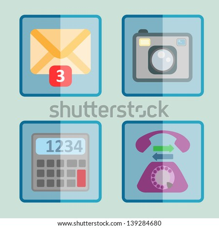 Modern icons for mobile phone app. Flat designed icons set. Mail, photo camera, calculator icons. Vector illustration EPS 10. - stock vector