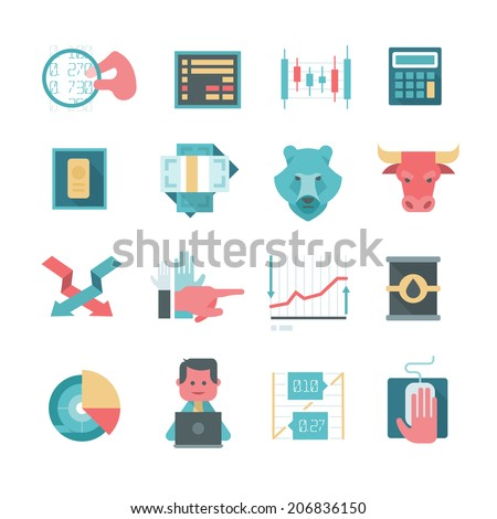 Modern icons in flat design style of trading stocks online, financing and making investment - stock vector