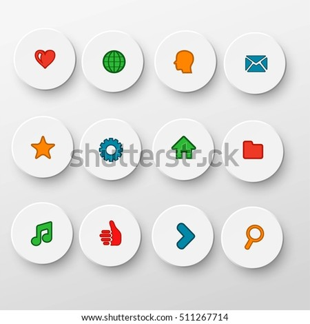 Modern icons on round shapes with shadows, vector illustration,