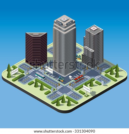 Modern illustration of an Isometric Buildings set in downtown. Isometric city. 3d buildings icon. Transport infrastructure. - stock vector