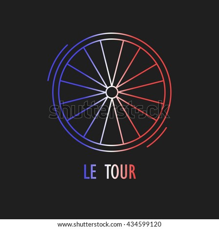 Modern Illustration of cycling race emblem. Outline wheel in French flag tricolor isolated on dark background. For use as design element, logo, sticker. Symbol made in trendy thin line style vector. - stock vector
