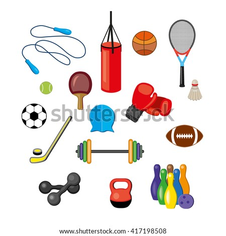 Modern illustration of sport equipments.