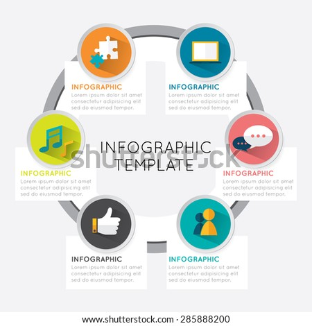 Modern info graphic template circle style options five banner on white background.  - stock vector
