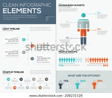 Modern infographic data visualization with people and timelines - stock vector