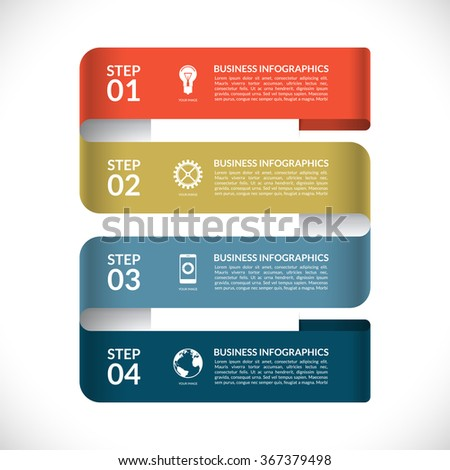 Modern infographic design template. Numbered banner in the form of a curved paper strip. Can be used for web, diagram, graphic layout, chart, etc. Vector background with 4 steps, parts, options - stock vector