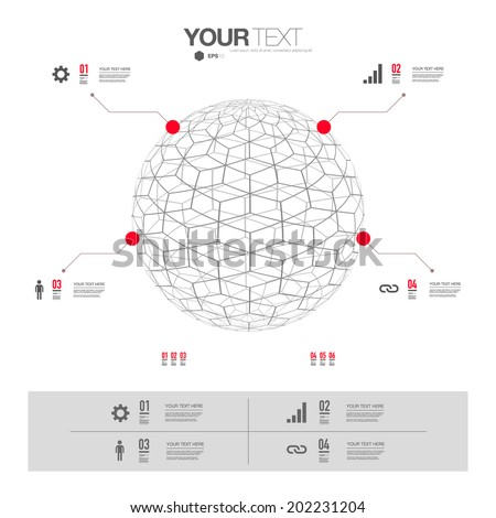 Modern infographic design with 3D sphere. Eps 10 stock vector illustration  - stock vector