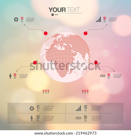 Modern infographic design 3 d world map stock vector 219462973 modern infographic design with 3d world map and bokeh background can be used for workflow layout gumiabroncs Choice Image