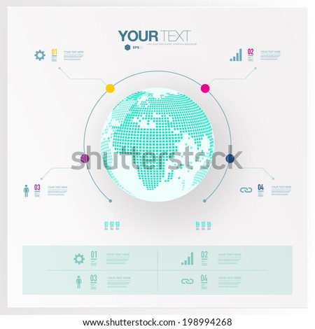 Modern infographic design with 3D world map  can be used for workflow layout, number options, web design.  Eps 10 stock vector illustration - stock vector