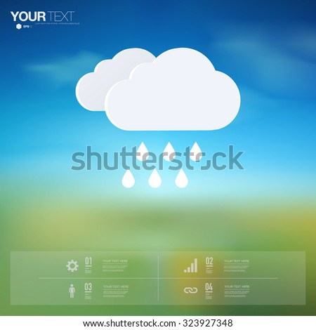 Modern infographic design with minimal rain icon on beautiful landscape background can be used for workflow layout, chart, number options, presentation, web design. Eps 10 stock vector illustration  - stock vector
