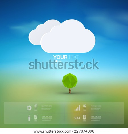 Modern infographic design with origami tree and clouds can be used for workflow layout, chart, number options, presentation, web design. Eps 10 stock vector illustration  - stock vector