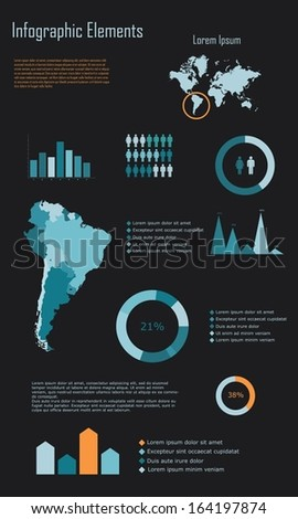 Modern Infographic Elements of South America vector illustration - stock vector
