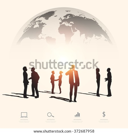 Modern infographic for business project with silhouette people - stock vector